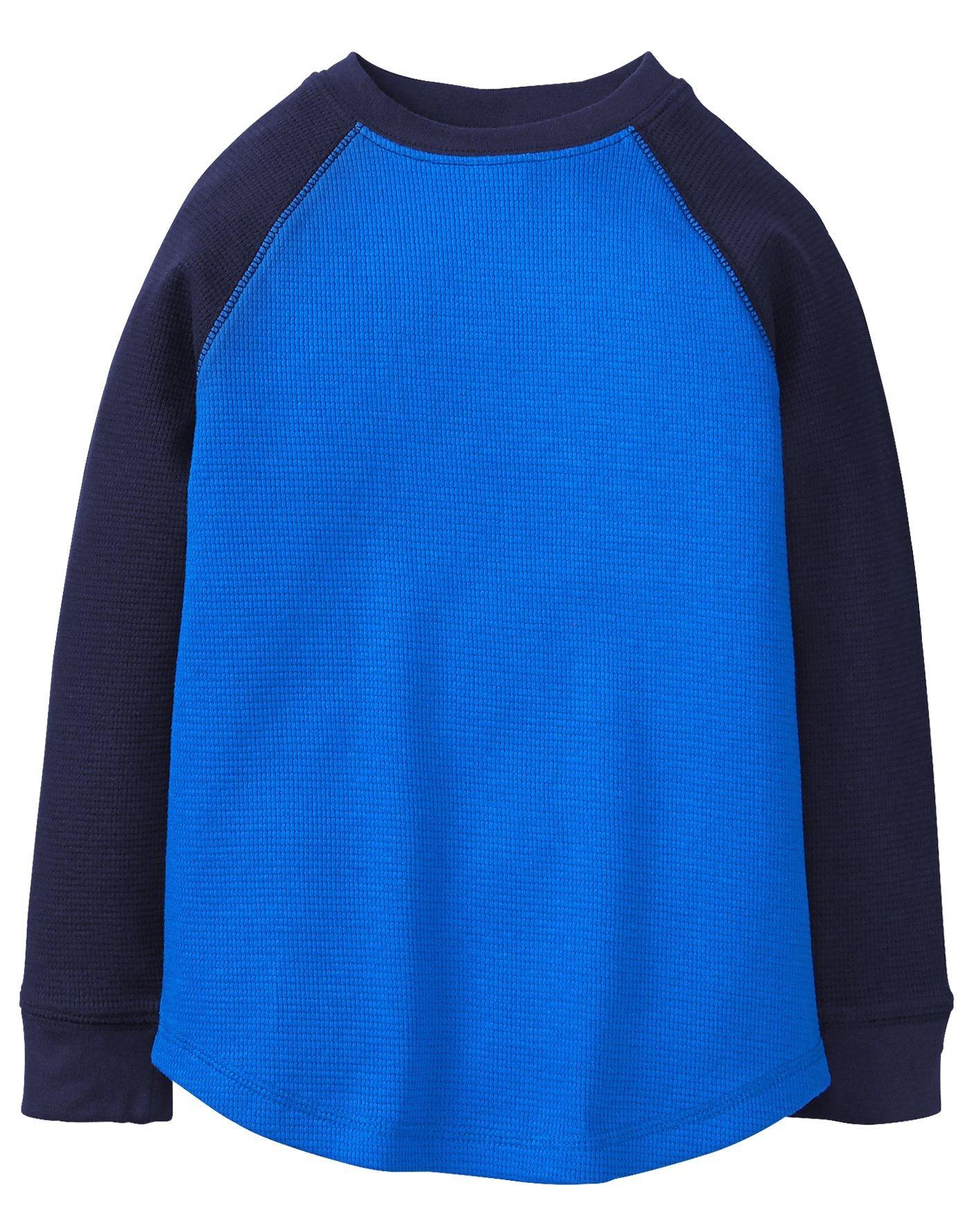 Gymboree Little Boys' Long Sleeve Tee Colorblock Waffle, Blue Color Block, M