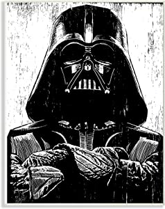 The Stupell Home Décor Collection Black and White Star Wars Darth Vader Distressed Wood Etching Wall Plaque Art, 10 x 15, Multi-Color