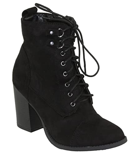 Women's Ravi-1 Faux Suede Mid Heel Lace-up Ankle Booties