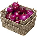 """StorageWorks Seagrass Storage Baskets, Hand-Woven Open-Front Bins with Handles, 13.8"""" x 11"""" x 5.5"""", 2-Pack"""