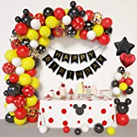 Amandir Cartoon Mouse Birthday Balloons Arch Garland Kit, Foil Confetti Black Red Yellow Latex Balloons with Happy…