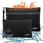 KeeQii Fireproof Money Bag,Two Pockets Waterproof and Fireproof Document Bags, Fireproof