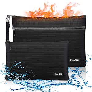 KeeQii Fireproof Money Bag,Two Pockets Waterproof and Fireproof Document Bags, Fireproof Safe Storage Pouch for Documents,Money and Cash (2 pack)