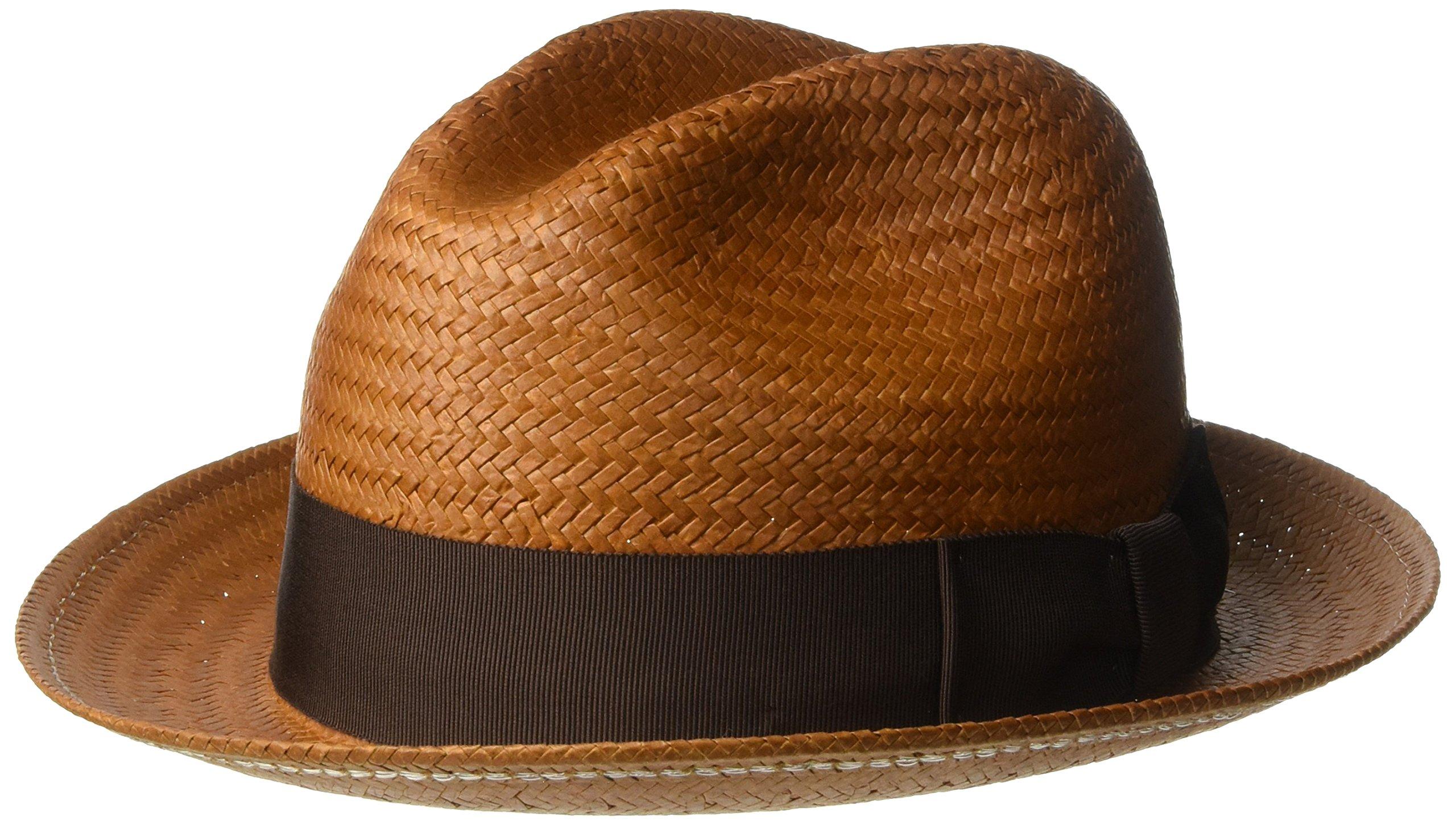 Bailey of Hollywood Men's Lando Fedora Trilby Hat, Cinnamon, L