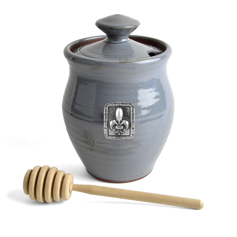 Oregon Stoneware Studio Fleur de Lys Honey Pot, Blackberry CTSHP42
