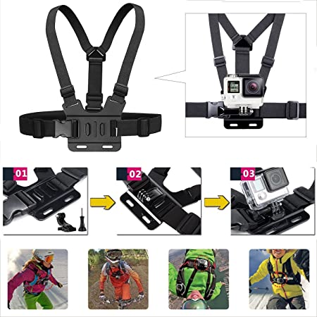 Navitech Adjustable Shoulder Body Strap Harness Mount Strap = Compatible with The APEMAN A100 Action Camera