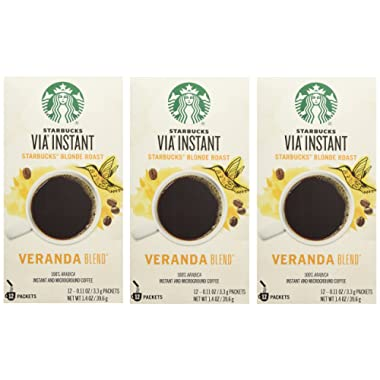 Starbucks VIA® Ready Brew Coffee Veranda Blend Blonde Roast (3 Pack/Boxes) 36 Packets Total
