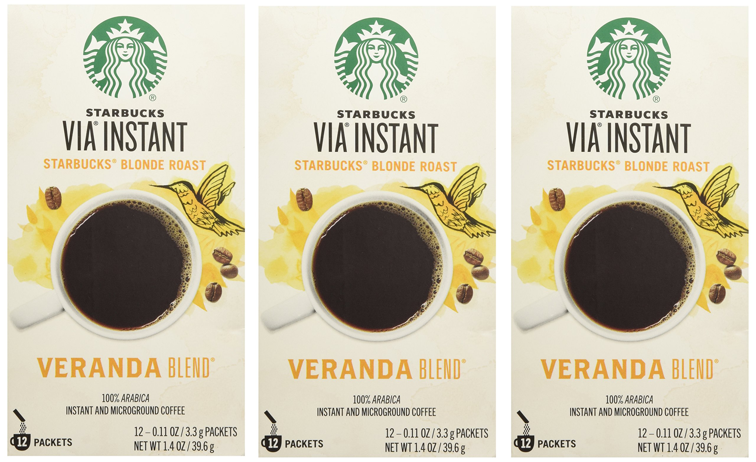 Starbucks VIA® Ready Brew Coffee Veranda Blend Blonde Roast (3 Pack/Boxes) 36 Packets Total by Starbucks