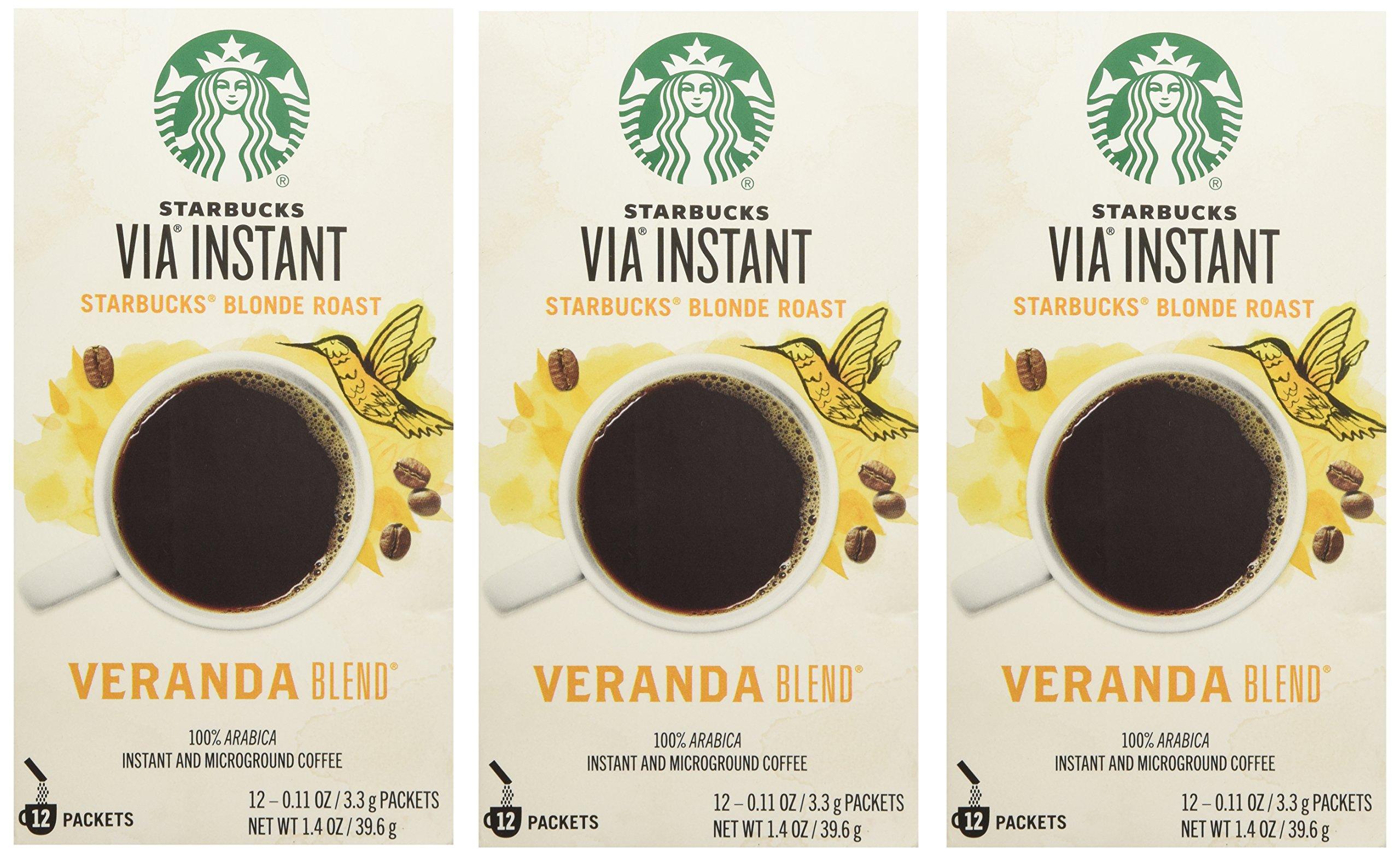 Starbucks VIA® Ready Brew Coffee Veranda Blend Blonde Roast (3 Pack/Boxes) 36 Packets Total