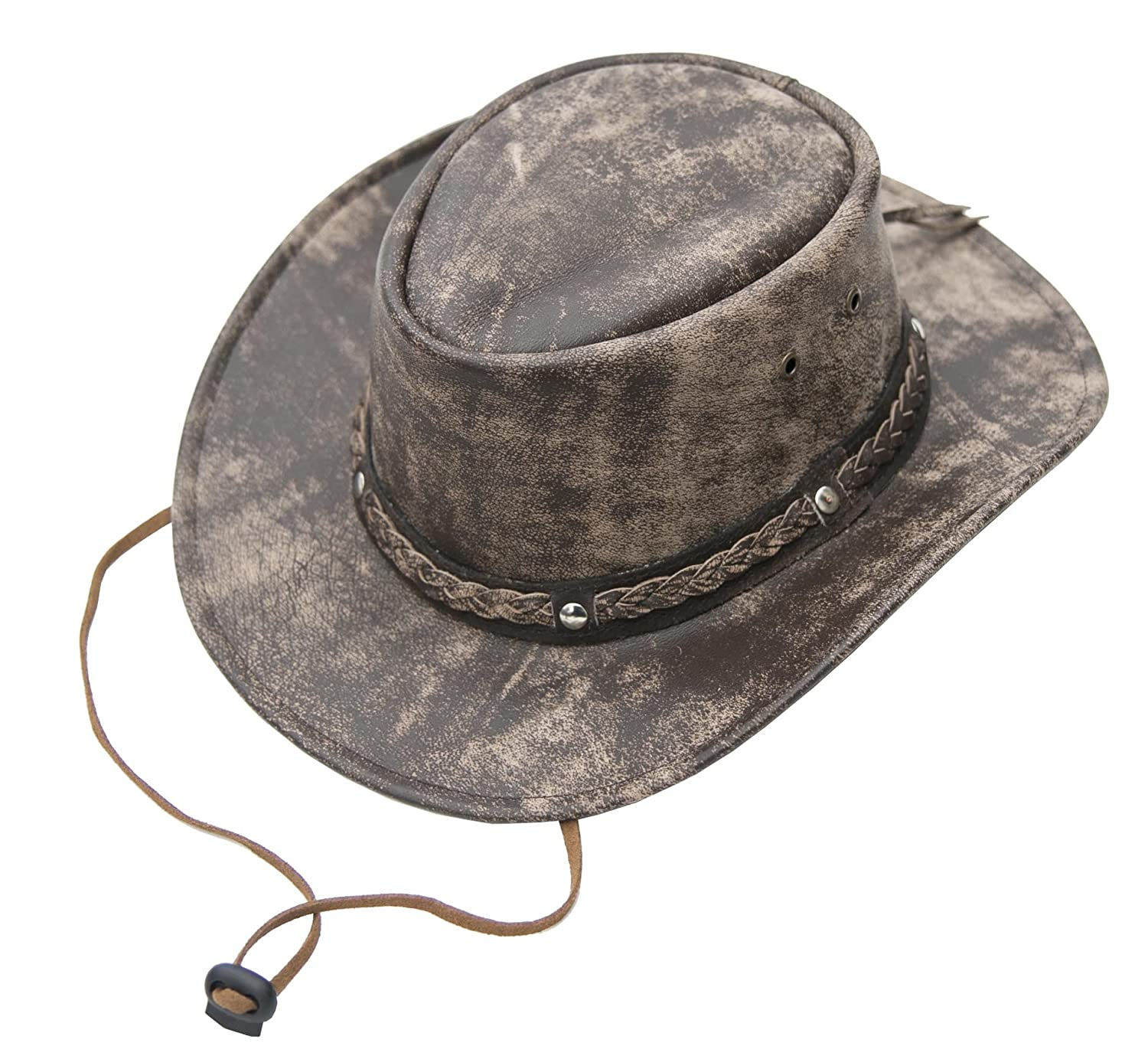 Wombat The Wilds Crushable Brown Cow Hide Distressed Leather Hat Chin Strap Mens Womens
