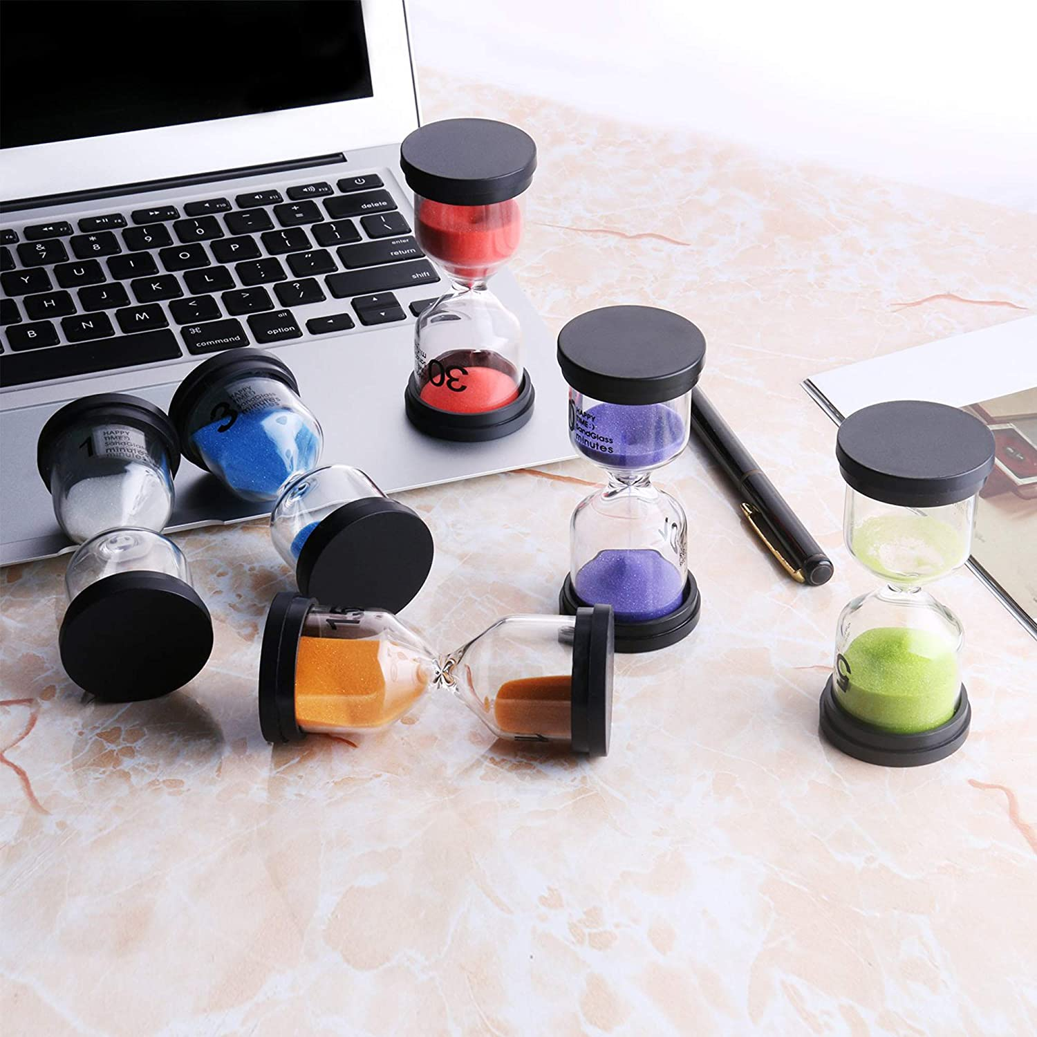 Perfect for Home with Various Timings 6 Assorted Bright Colours Pack of 6 Different Sand Timers Office /& More Classroom Kitchen