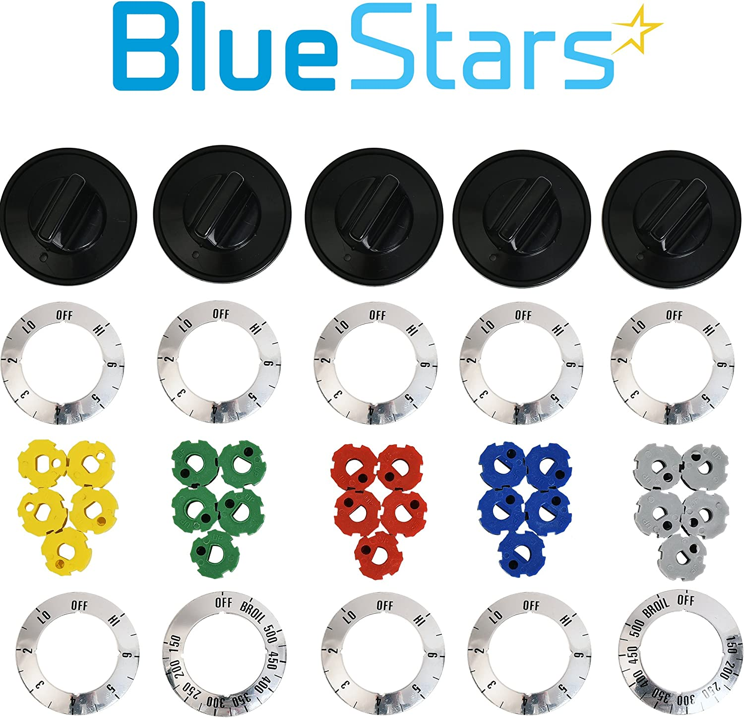 Replaces 1461063 AP4345833 Exact Fit For GE /& Hotpoint Ranges Ultra Durable WB03T10282 Range Infinite Switch Knob Replacement Part by Blue Stars