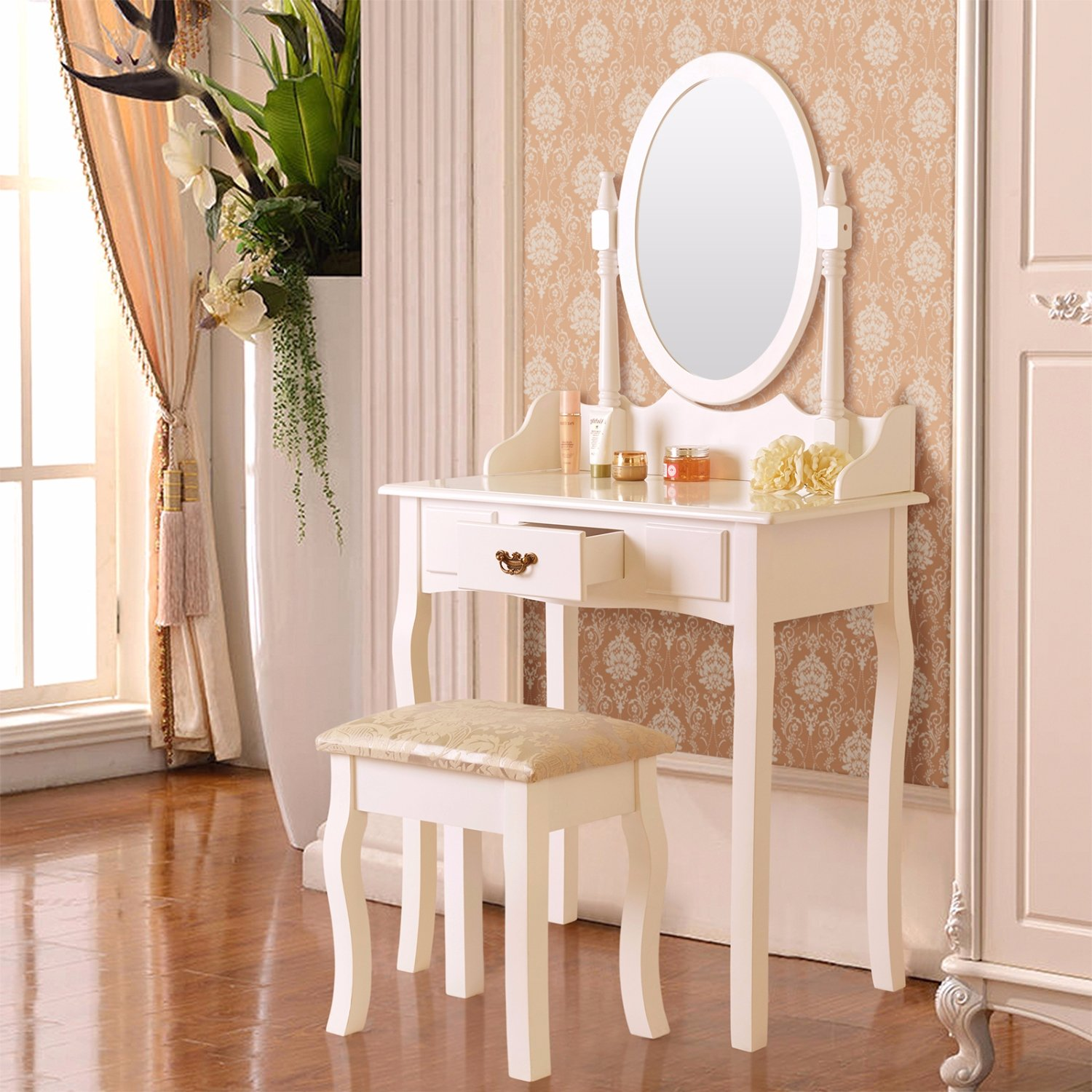 Amazon.com: Mecor Vanity Makeup Table Set Dressing Table With Stool And  Oval Mirror ,White (1 Drawer): Kitchen U0026 Dining