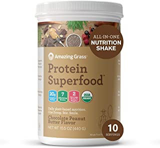 product image for Amazing Grass Protein Superfood: Vegan Protein Powder, All-in-One Nutrition Shake, Chocolate Peanut Butter, 10 Servings