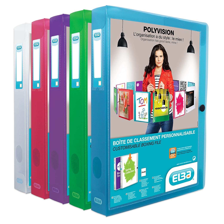 ELBA 100200140 Kunststoff-Sammelbox polyvision 4 cm breit DIN A4 blau Drucknopf-Verschluss Sammel-Mappe Heftbox Heft-Sammler Dokumenten-Box ideal f/ür B/üro Schule und die mobile Organisation