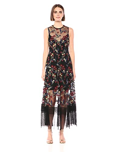 09febe36a3cd0 Dress the Population Women's Gina Sleeveless Lace Illusion Fit & Flare Maxi  Dress at Amazon Women's Clothing store: