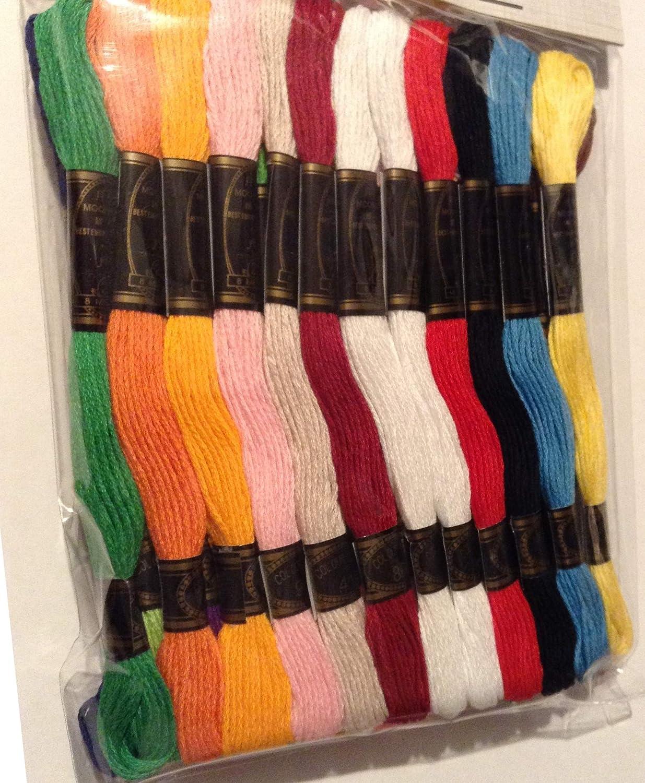 Trimits Hilo de Bordar, 100% Algodón, Colores Arco Iris con 36 madejas y cada madeja mide 8 metros.: Amazon.es: Hogar