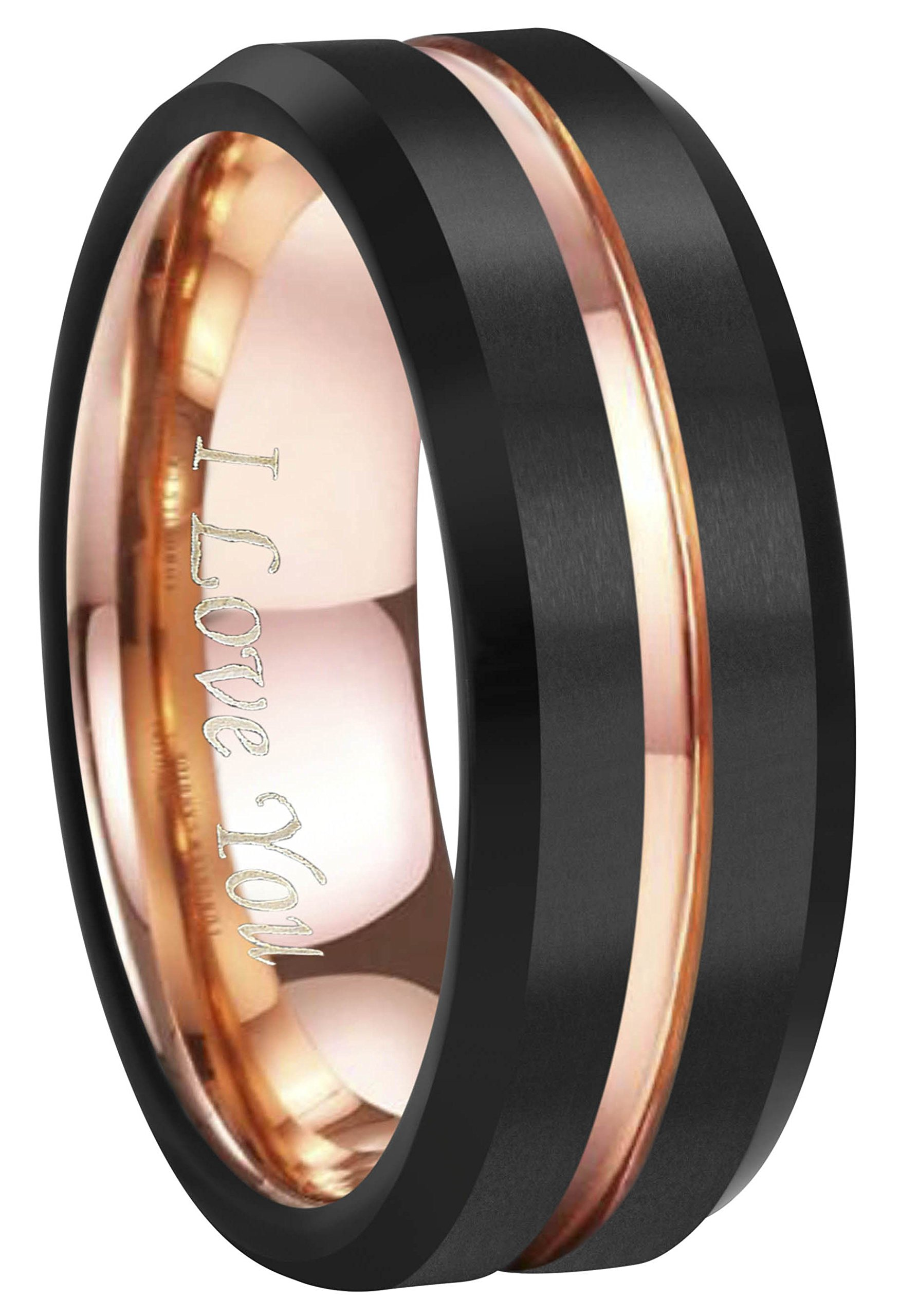 4mm 6mm 8mm 10mm Rose Gold Groove Black Matte Finish Tungsten Carbide Wedding Band Ring Engraved ''I Love You'' (8mm,10.5)