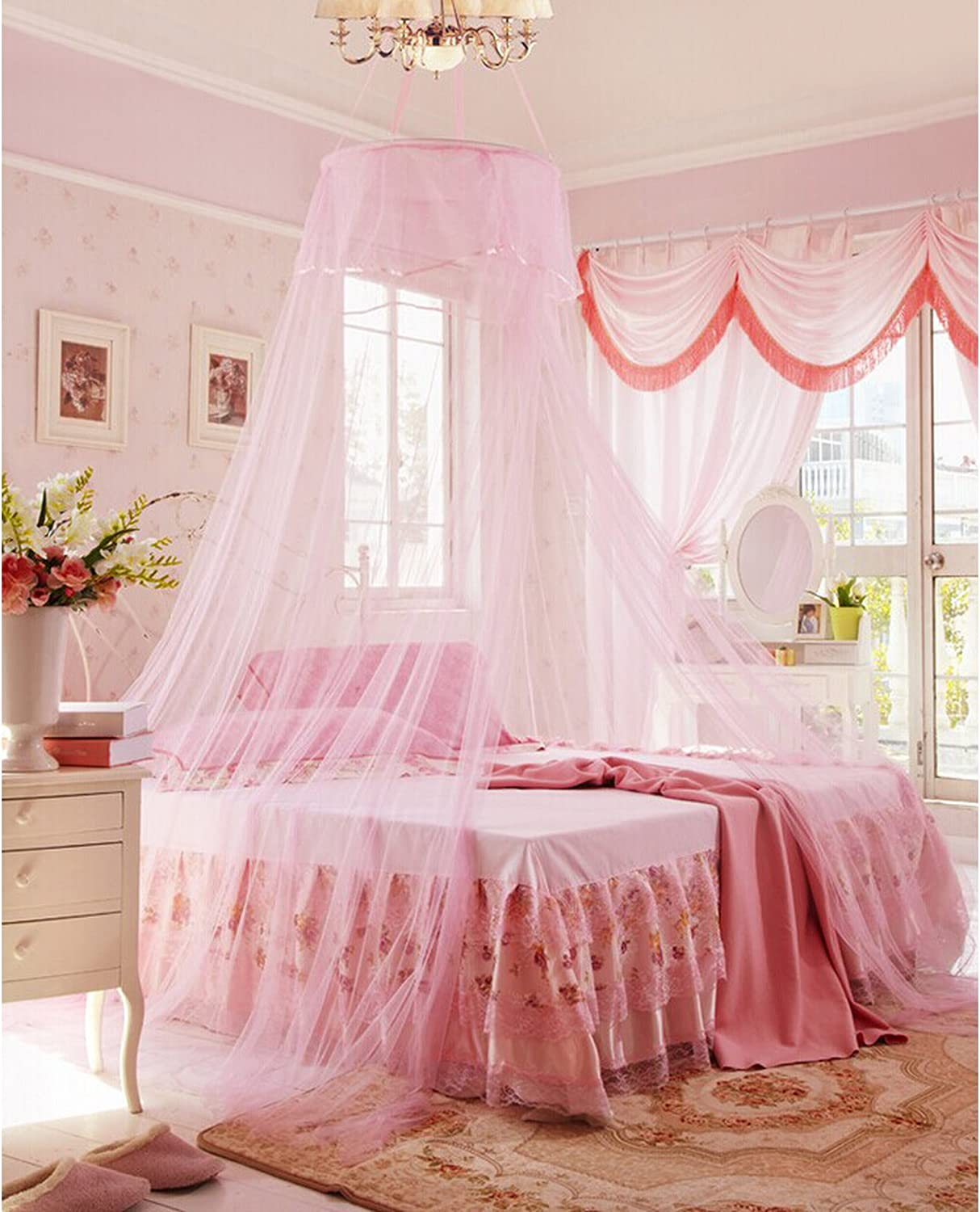 Lilac Pink Lilac es-uk Gorgeous Bed Canopy One Size for All White Cream