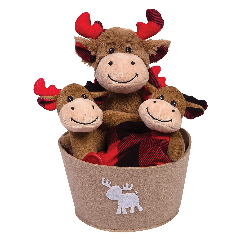 Trend Lab Buffalo Check Moose 4Piece Plush Gift Set Bucket