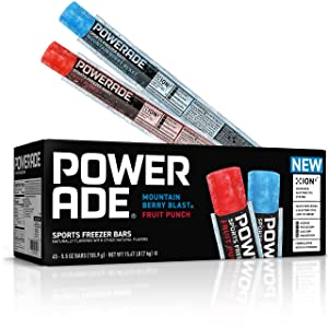 POWERADE Sports Freezer Bars, Giant Sized 5.5 oz – Refreshing Ice Pops with Electrolytes B Vitamins – Naturally Flavored with other Natural Flavors, Mountain Berry Blast and Fruit Punch, 45 Count