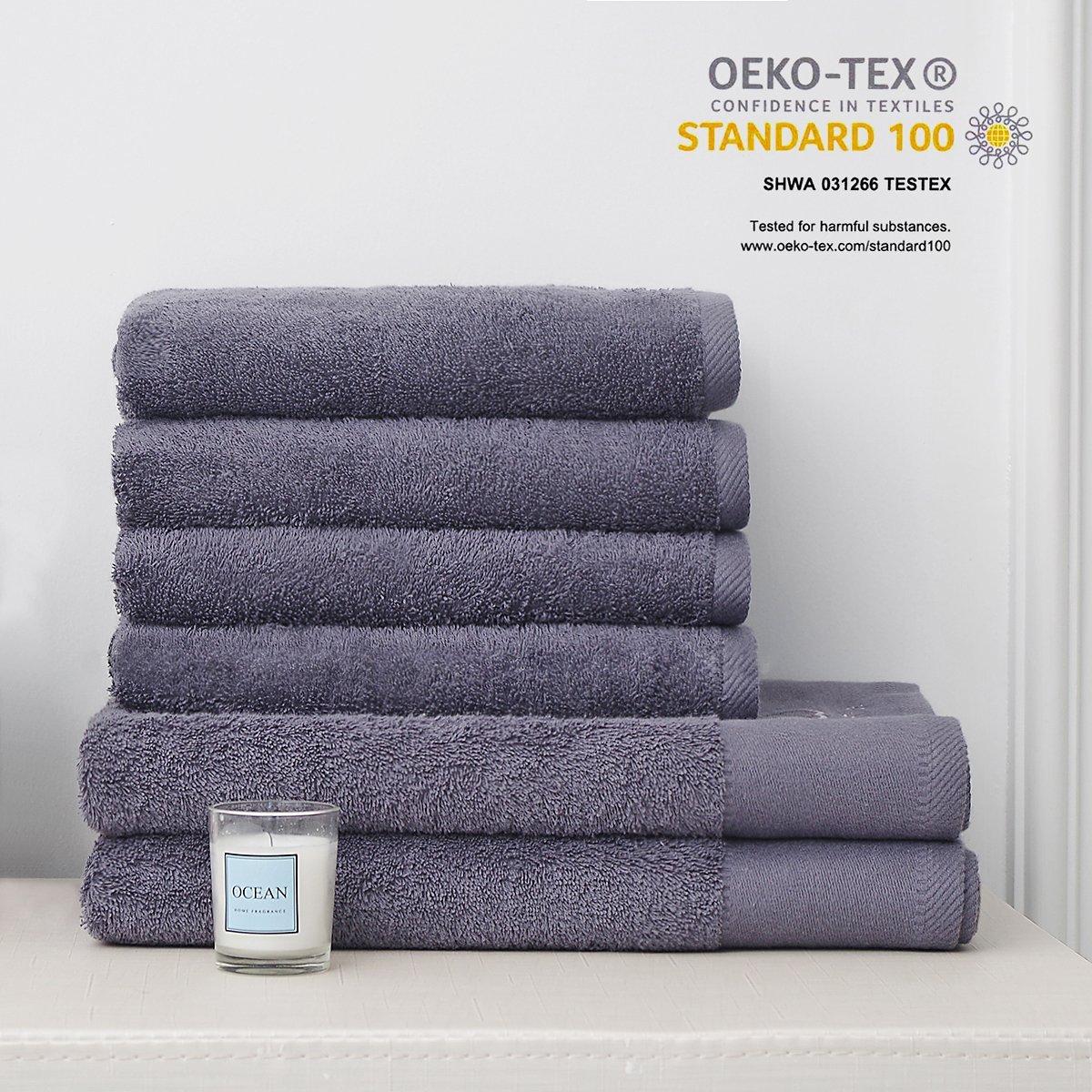 MonTrüe Conjunto de Toallas de baño de Hotel y SPA de Lujo 500 gsm, 100% de algodón hilada en Anillo, Juego de Sei, Gris Oscuro: Amazon.es: Hogar