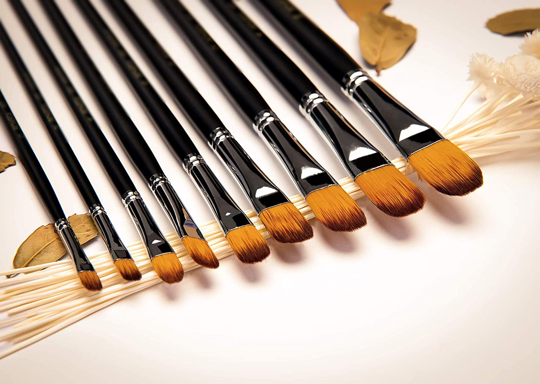 penseel Perfect voor aquarel Professionele  kunstenaars paint penseel set Zwart-9/stuks lange Grip olieverf geschikt voor beginners gouache- paint palet bevatten kunstenaars en Studenten acryl