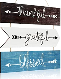 Rustic Wooden Hanging Wall Sign Thankful Grateful Blessed Wood Sign Farmhouse Wooden Arrow Quotes Signs Hanging Wood Wall Decor Signs for Home Living Room Bedroom Office Wedding Favor (Chic Colors)