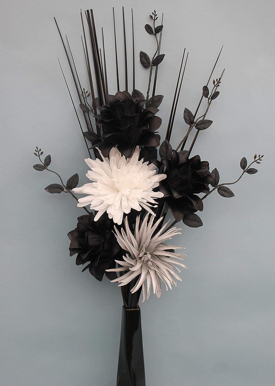 Simply gift solutions ltd artificial silk black dragonwhite simply gift solutions ltd artificial silk black dragonwhite silver flowers in black twist ceramic vase mightylinksfo