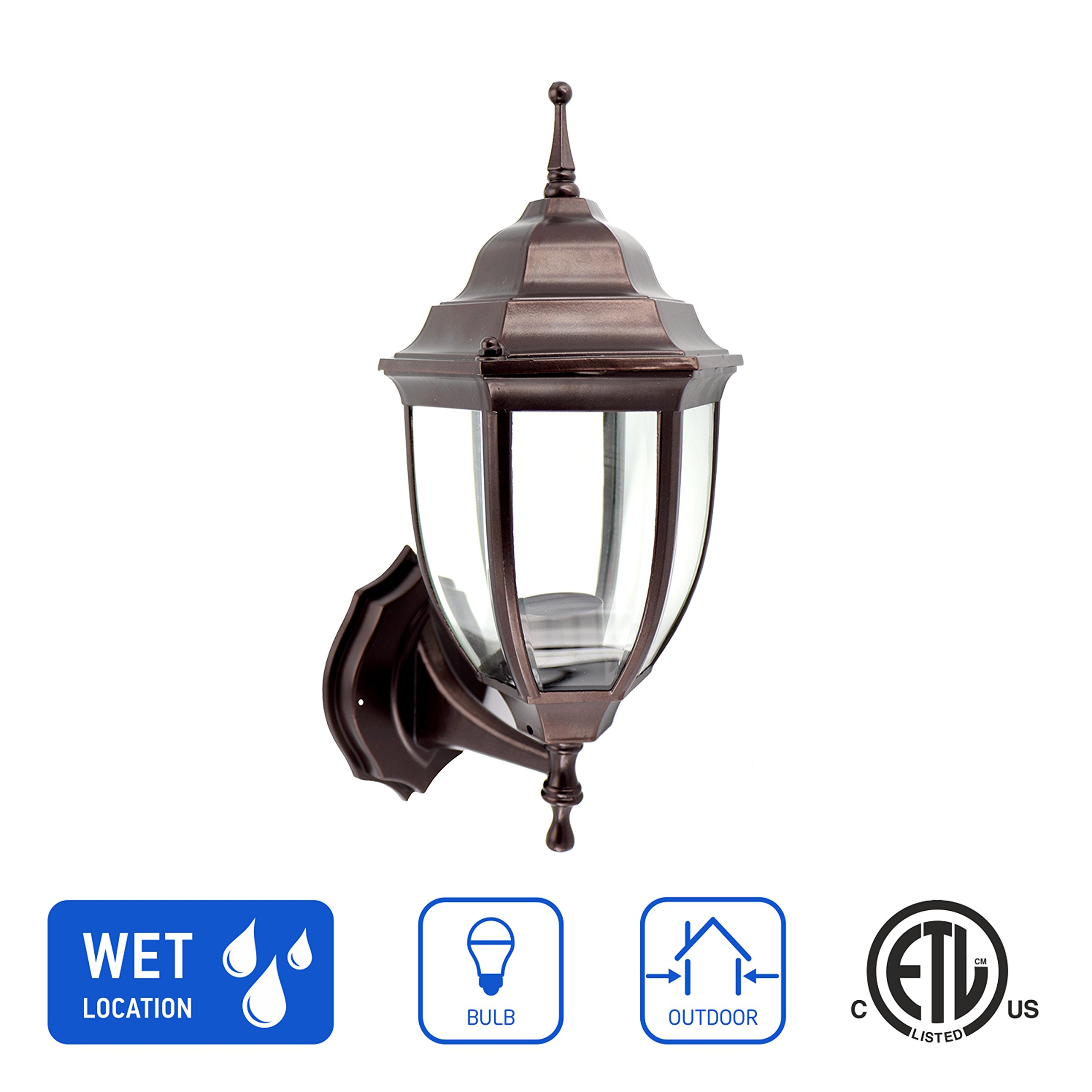 in Home 1-Light Outdoor Wall Mount Lantern Upward Fixture L04 Series Traditional Design Bronze Finish, Clear Glass Shade, ETL Listed