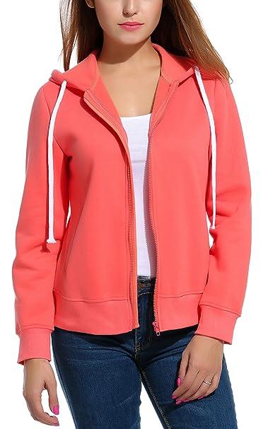 Meaneor Women's Long Sleeve Casual Zip-Up Hoodie Jacket Lightweight  Sweatshirt