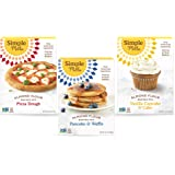 Simple Mills, Baking Mix Variety Pack, Pancake & Waffle, Pizza Dough, Vanilla Muffin & Cake Variety Pack, 3 Count (Packaging