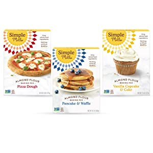 Simple Mills, Baking Mix Variety Pack, Pancake & Waffle, Pizza Dough, Vanilla Muffin & Cake Variety Pack, 3 Count (Packaging May Vary)