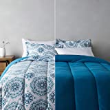 Amazon Basics Ultra-Soft Light-Weight Microfiber Reversible Comforter Bedding Set - King, Light Blue Medallion