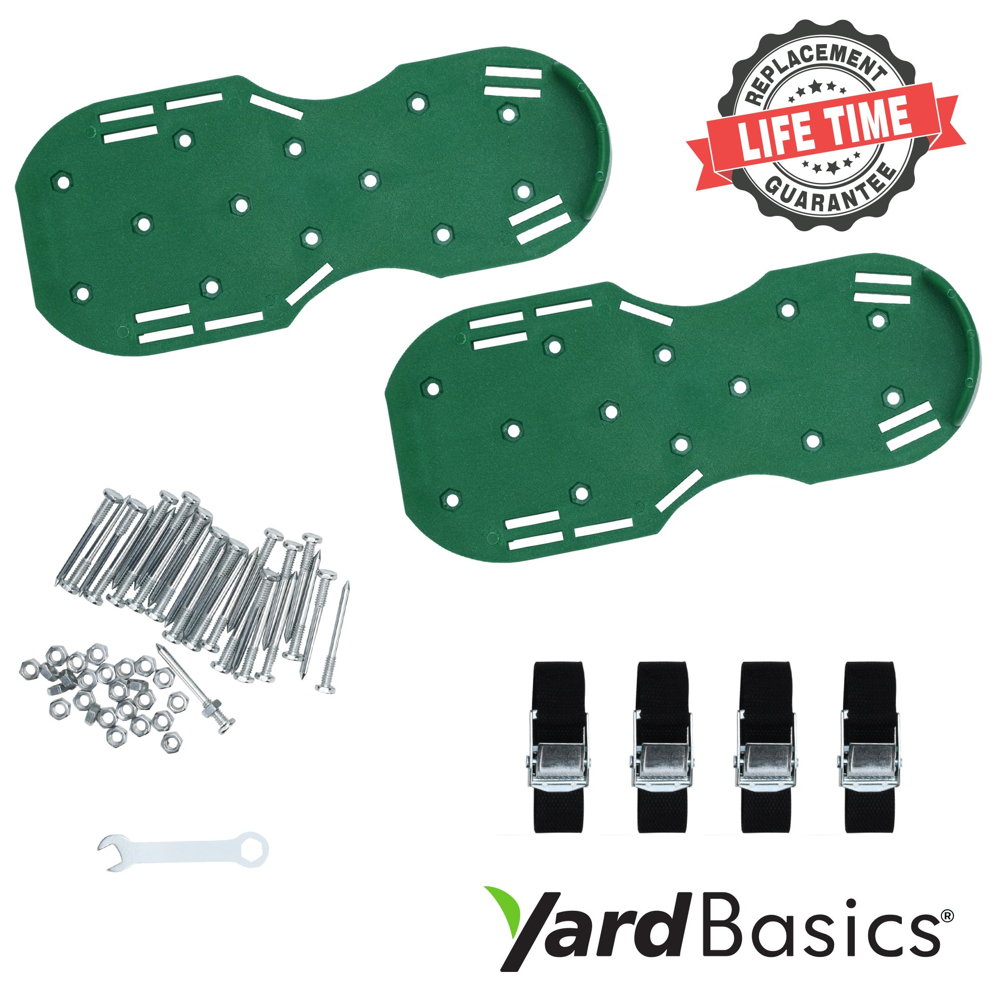 Yard Basics Aerator Shoes - Effective Heavy Duty Comfortable Lawn Aerator Shoes for a Greener Lawn, 4 Metal Buckles with Strong Adjustable Nylon Straps. A One Size Fits All Lawn and Grass Aerator.