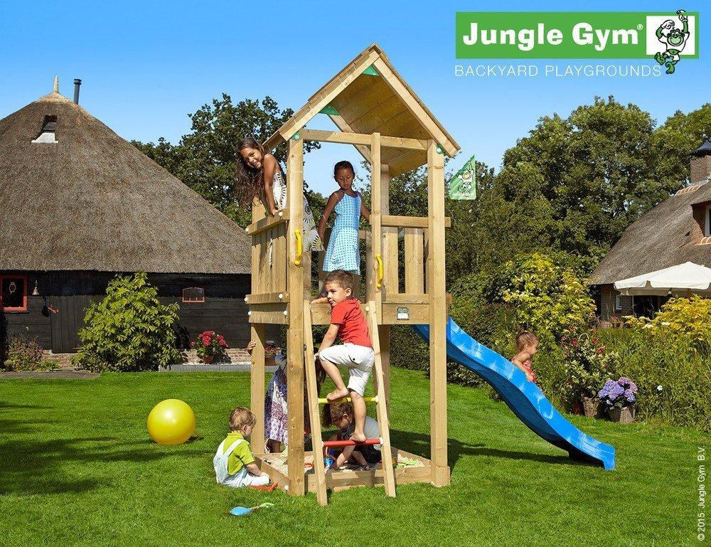 Spielturm Jungle Gym Club Set mit 2,4 m Rutsche Sandkasten Kletterturm - Jungle Gym (inkl. Holzpaket), Gelb