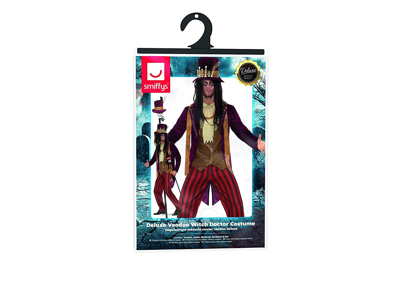Smiffys Herren Deluxe Voodoo Hexen Doktor Kostüm, Hose, Jacke, Jacke, Jacke, Weste, Kette und Hut, Größe: M, 46876 b13f86