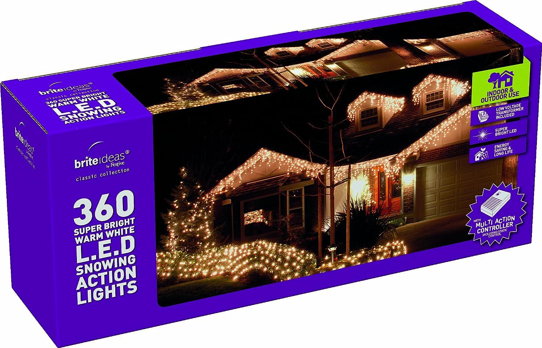 Brite Ideas - Luci Decorazioni Natalizie, 360 LED Bassa Tensione, Effetto Neve, Luce Bianca Calda Festive Productions Ltd
