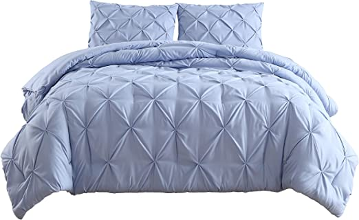Estellar 3pc Queen Size Comforter Set Pinch Pleat Pintuck BeddingLight Grey