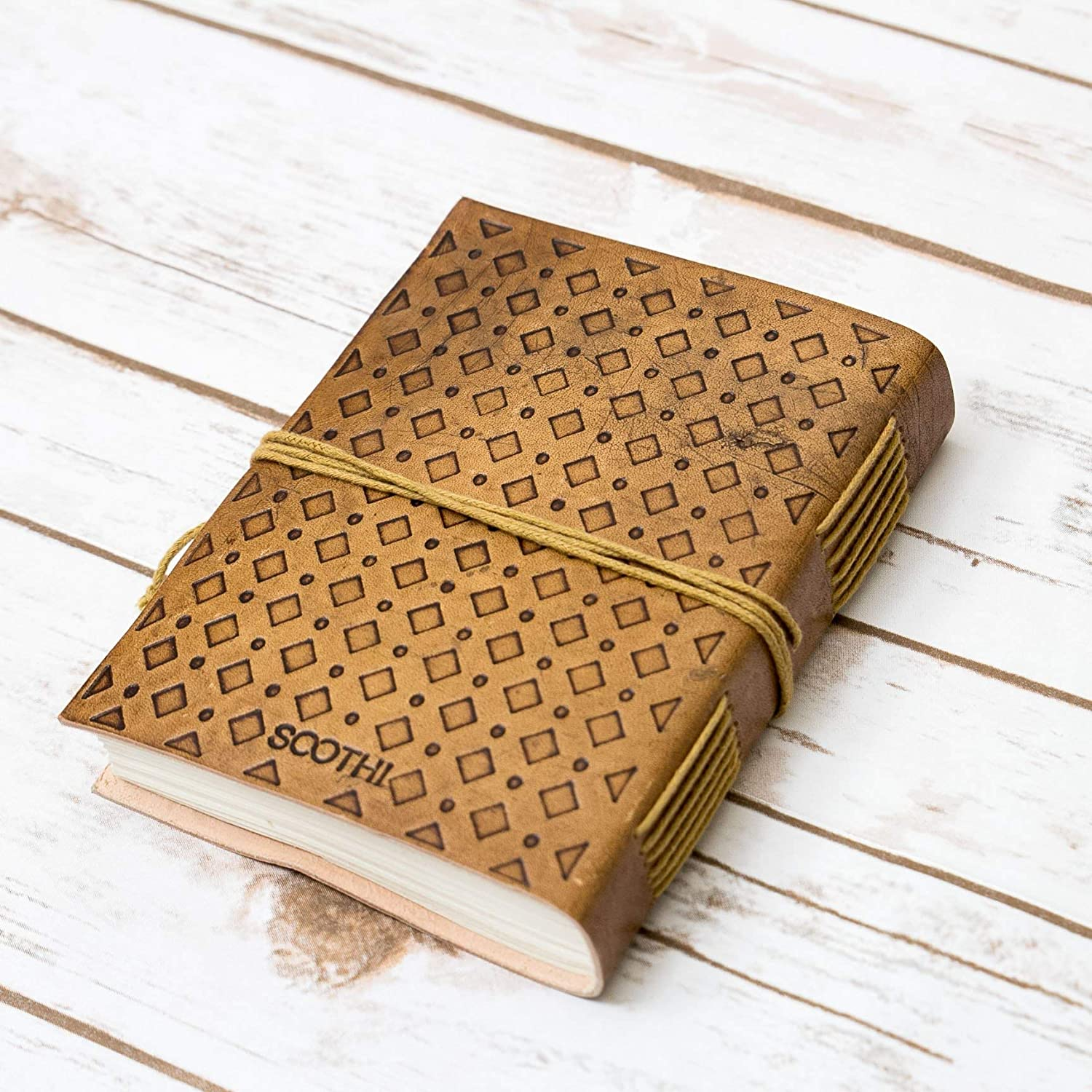 Travel Journal Embossed Quotes Journal Hardships and Extraordinary Journey Blonde Handmade Leather Journal