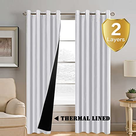 Greyish White Blackout Curtains (2 Layers)   Elegant Rich Faux Silk Window  Panels With