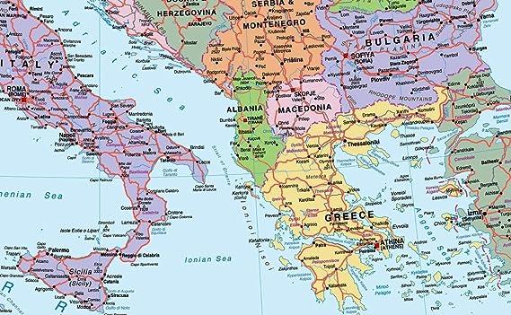 Mapa de Europa - Vinilo - Tamaño gigante 100 x 150 cm [GM]: Amazon.es: Oficina y papelería