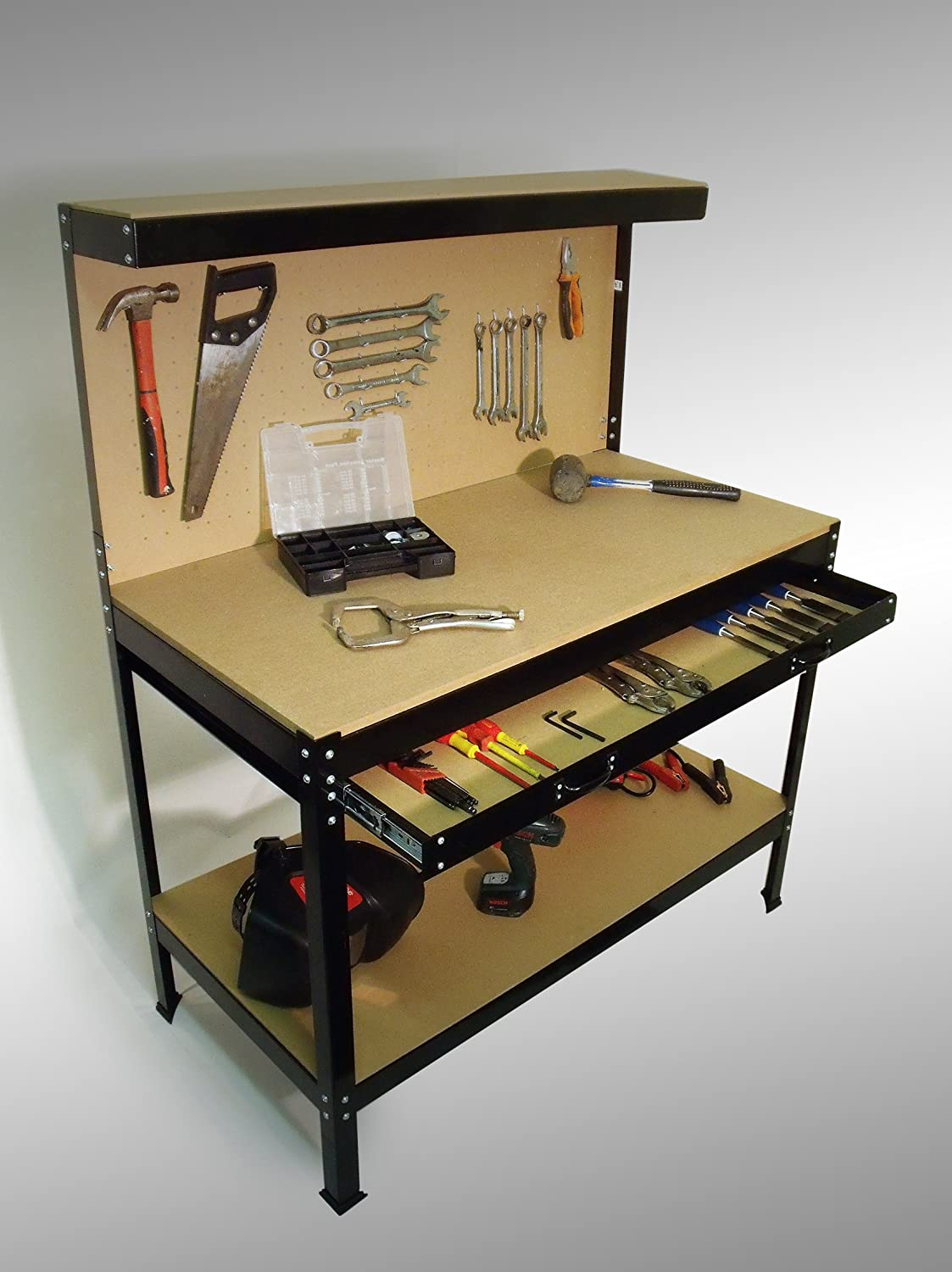 Tool Benches Garage : Heavy duty garage workshop work bench station pegboard