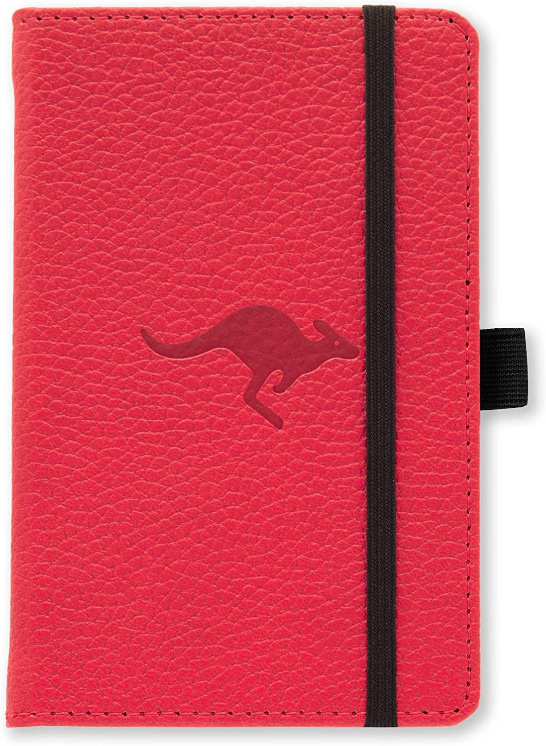 Dingbats Wildlife Dotted Pocket A6 Hardcover Notebook - PU Leather, Perforated 100gsm Ink-Proof Paper, Pocket, Elastic Closure, Pen Holder, Bookmark (Red Kangaroo)