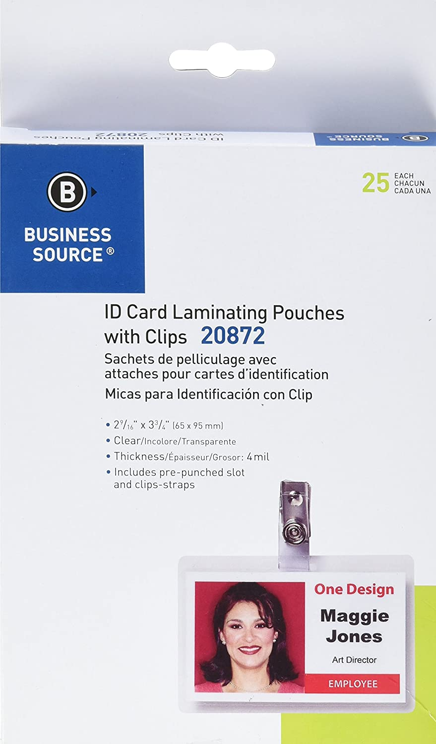 Business Source ID Card Laminating Pouches with Clip - Pack of 25 20872