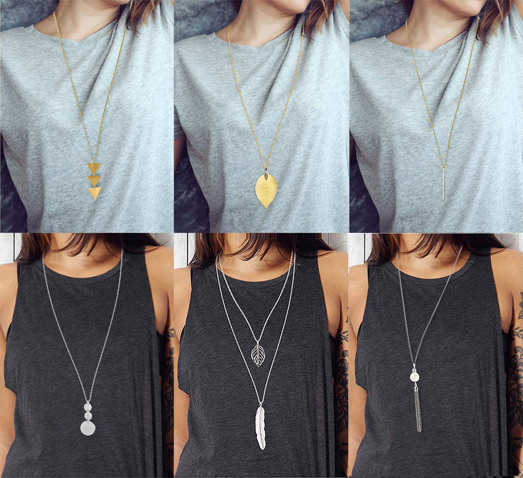 Anlsen 6PCS Long Pendant Necklace for Women Girls Layer Simple Bar Three Triangle Tassel Y Necklace Set by Anlsen