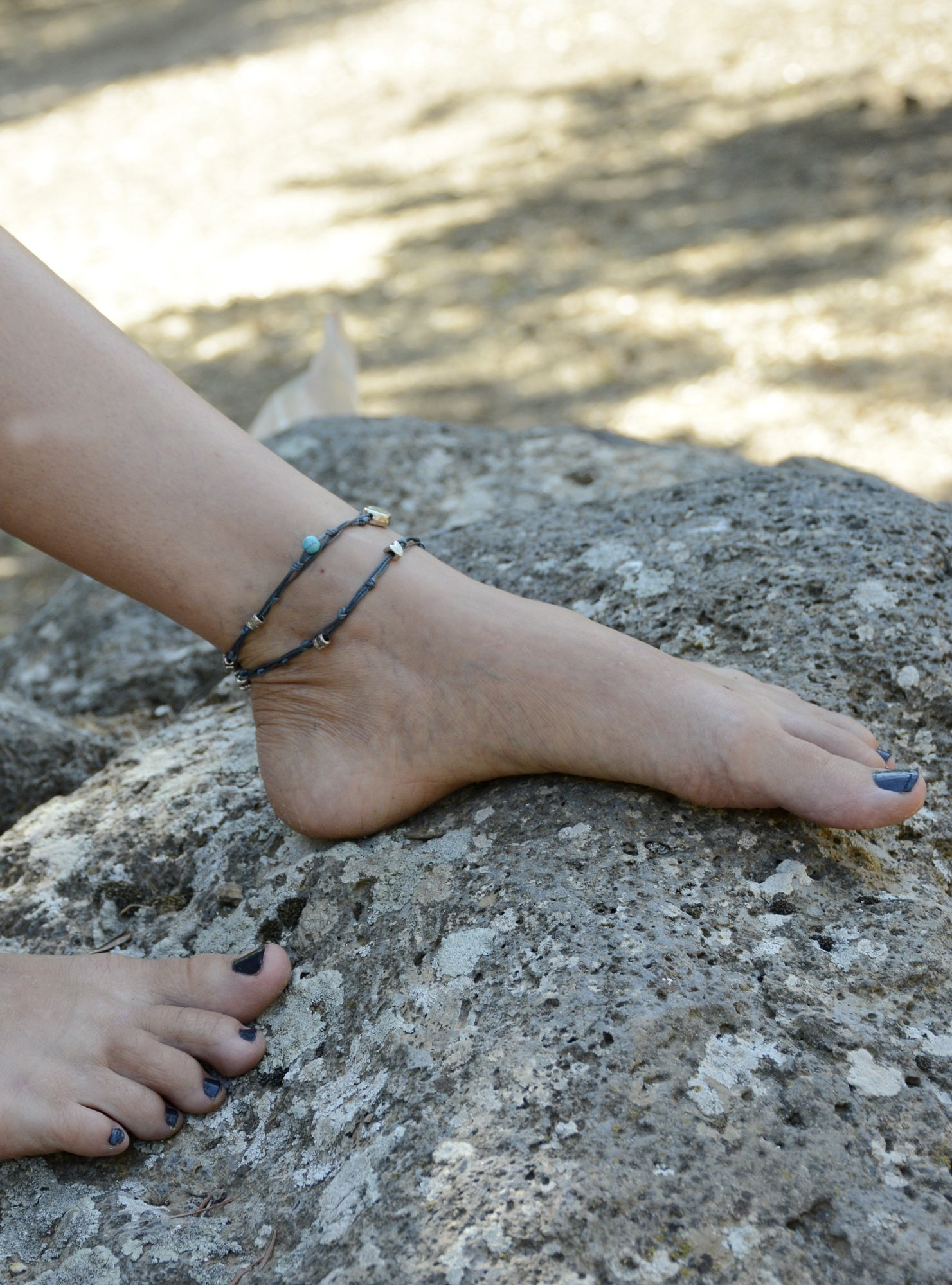 Handmade Denim Blue & Silver Double Wrap Anklet for Good Luck - 10.5'' by MIZZE Made for Luck (Image #4)