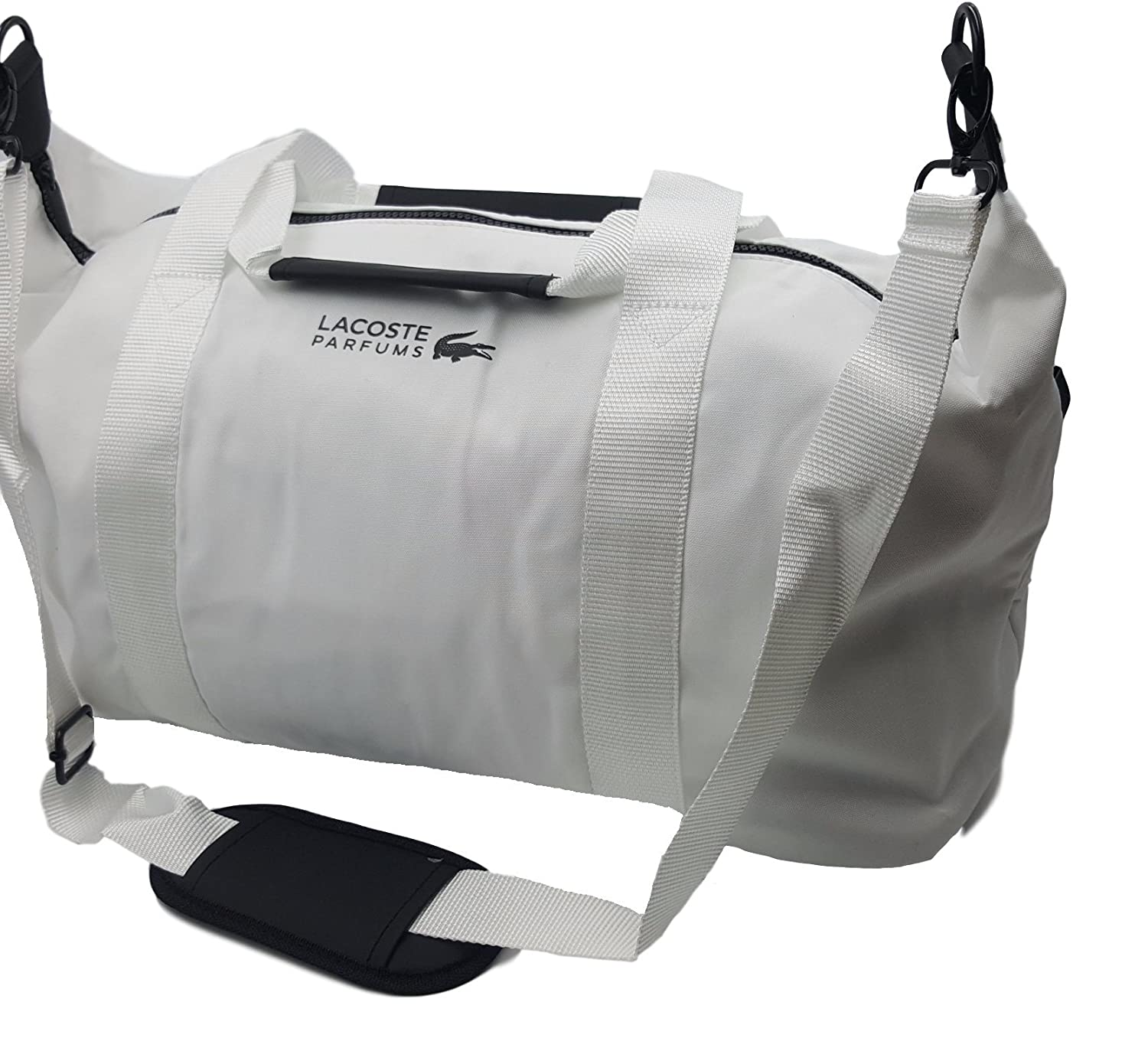 93ea132335 Lacoste Men's White Weekend Large Gym Sports Bag Travel Overnight Handbag  Black Zippers: Amazon.co.uk: Luggage