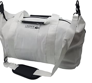1cdb7dc7ef6 Lacoste Men s White Weekend Large Gym Sports Bag Travel Overnight Handbag  Black Zippers