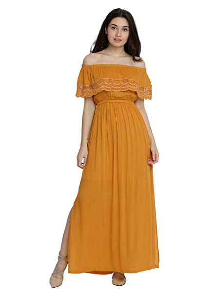 96caa448169d Miss Chase Women s Yellow Off-Shoulder Maxi Dress  Amazon.in ...